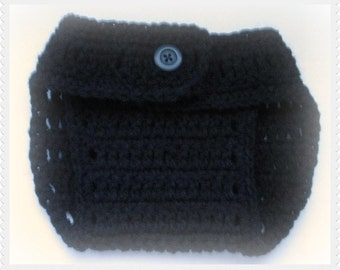 Crocheted Diaper cover, Black Nappy cover, Photo prop