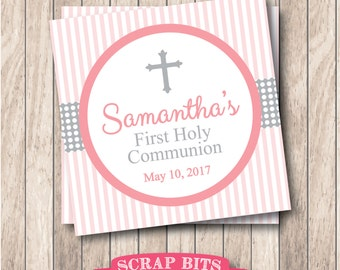 Printable First Communion Tags in Pink & Grey . Personalized Communion Favor Tags