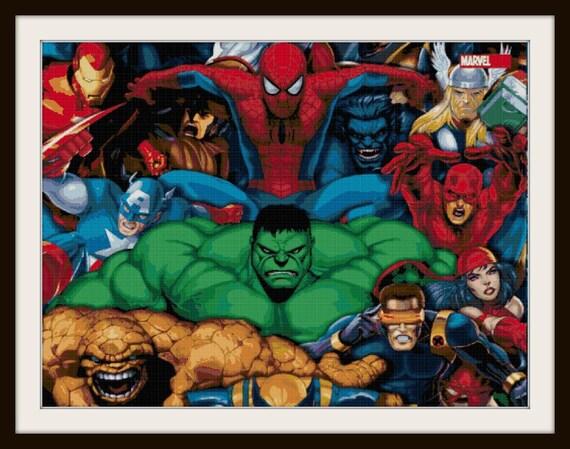 Marvel superheroes cross stitch marvel heroes superheroes - Marvel spiderman comics pdf ...