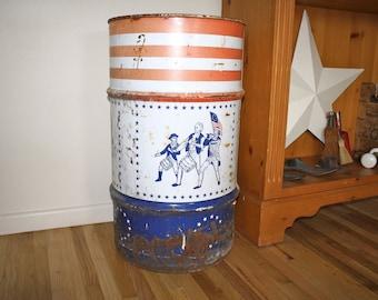 Vintage Oil Drum George Washington Tin Americana Tin Advertising Tin Table Base Large  Americana Tin Yard Decor Storage