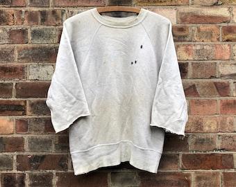 60's Repaired Cut Down Grey Raglan Sleeve Sweatshirt