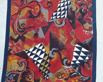 Vintage silk scarf Jerome Leplat 86*84 / Винтажный шелковый платок Jerome Leplat 86*84 см