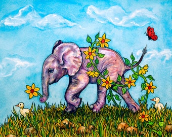 Elephant watercolour painting - Pinky Picks a Flower