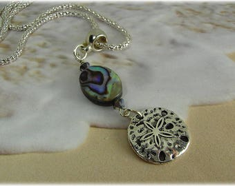 Silver Dollar and Abalone Necklace, Beach Necklace, Silver Dollar Charm Necklace
