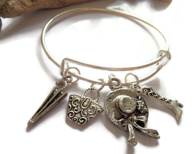 MARY POPPINS inspired silver charm bangle child or adult sizes fandom gift