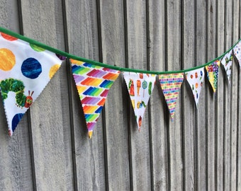 Fabric Bunting Flags Birthday Banner Picnic Party Decoration Butterfly Caterpillar Fabric Pennant Banner Happy Birthday Decoration