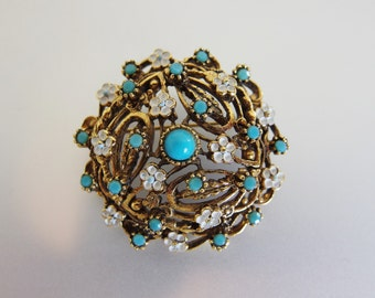 Vintage Designer Faux Turquoise and White Enamel Flower Brooch
