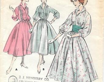 Butterick 8190 1950s Bouffants Shirtwaist Dress with Circle Skirt Vintage Sewing Pattern Size 16 Bust 36