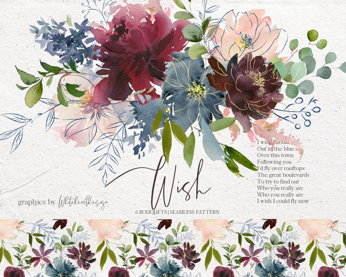 wish bordo amp navy watercolor floral clipart burgundy red pink