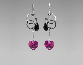 Pink Swarovski Crystal Earrings, Fuchsia Swarovski Crystals, Black Swarovski Crystals, Wire Wrapped Earrings, Supernova II v5