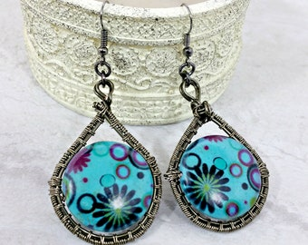 Boho Earrings Wire Wrap Dangle Earrings Wire Wrapped Jewelry Blue Drop Earrings Bohemian Earrings Gift for Her Gift for Mom Mothers Day Gift