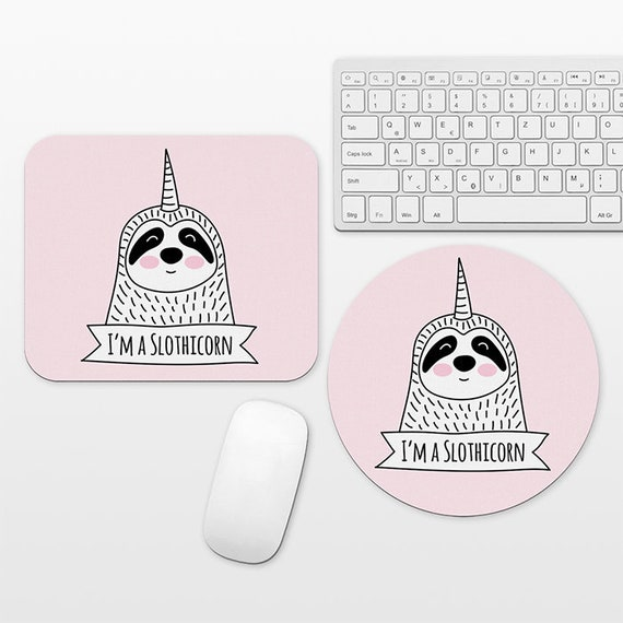 Slothicorn Sloth Unicorn Mouse Pad Pink Mousepad Funny Cute Mouse Mat Circle Round Rectangular, Desk Decor Office Desk Accessories for Women