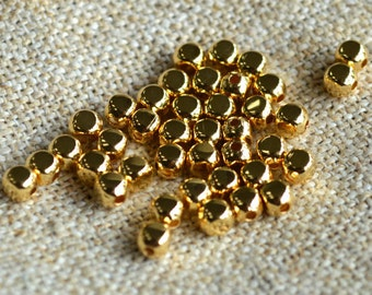 100pcs 5mm Squared Round Metal Beads Gold Plated Brass Square Rounded
