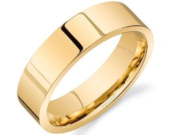 14k Yellow Gold Band (6mm) / PLAIN / Polished Flat + Comfort Fit / Men's Women's Wedding Ring