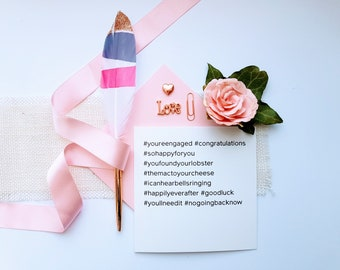 Hash Tag Engaged Card for Instagram Lovers, Ideal Modern Typography Cards, Minimalist Card for Stylish Couples,