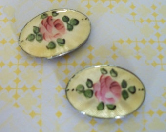 Vintage Sunny Garden Set of 2 MAGNETS Upcycled Earrings Pink Yellow Green Flower Floral Home Decor Photo Display Gift