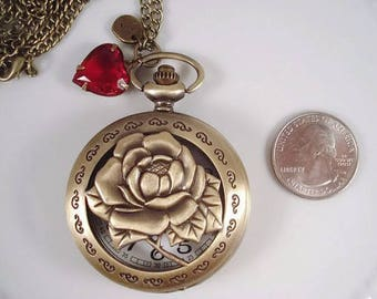Pocket Watch Jewelry Roses Victorian Pocket Watch Necklace Initial Necklace Red Hearts Heirloom Gift Pocket Watch Jewelry