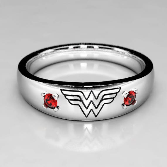 wonder woman wedding ring wedding band in silver or white gold with ruby 1477