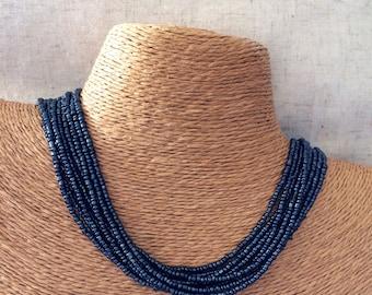 Navy beaded necklace, navy necklace, navy multi-strand necklace, navy bridesmaids, navy bridal party, blue bridesmaids, blue necklace, navy