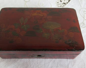French antique stamp box/ trinket box/wooden painted antique box/home decor/Margalide