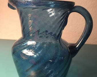 Hand blown cobalt glass pitcher