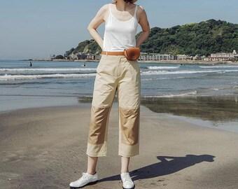 Original D&F Khaki Colorblock Cropped Cotton Pants, Sweatpants, Trousers, Casual Pant,Pants, Womens pants, Women Trousers,designed