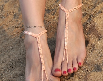 Barefoot Sandals- Peach Foot Jewelry- Beach Wedding Barefoot Sandals- Barefoot Wedding- Body Jewelry- Bridesmaid Gift- Boho Wedding Shoes