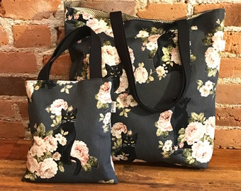 Black Cat with Roses Large & Mini tote bags, Cat Bags, Cat Lover, Fully lined. Mom and Daughter, matching bags, Bag in Bag