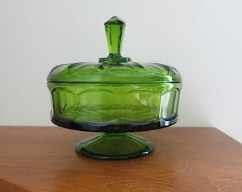 Vintage Viking 6710 Covered Pedestal Candy Dish Green - Art Glass