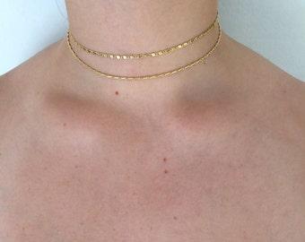 Double chain gold choker