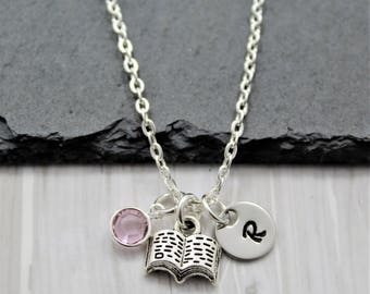 Book Necklace - Personalized Book Lover Gift for Women, Girls, & Kids - Book Charm Necklace - Reading Themed Gift - Little Book Charm