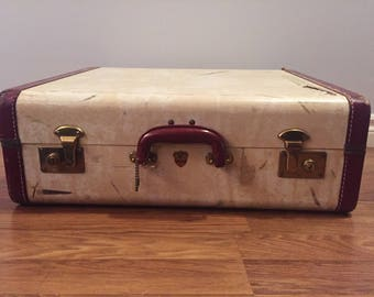 Vintage Mcbrine Luggage with Iridescent Burgundy lining. Vintage Luggage - Retro Luggage- Vintage McBrine -Shabby Chic