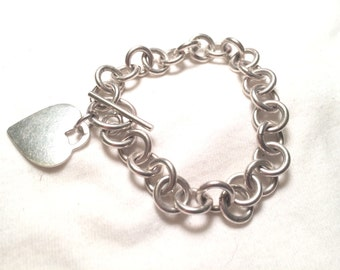 925 sterling silver chain with heart bracelet