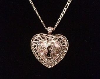 Silver Keyhole Heart Pendant