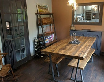Package: Vintage Industrial Style Reclaimed Dining Table with 1 Matching Bench