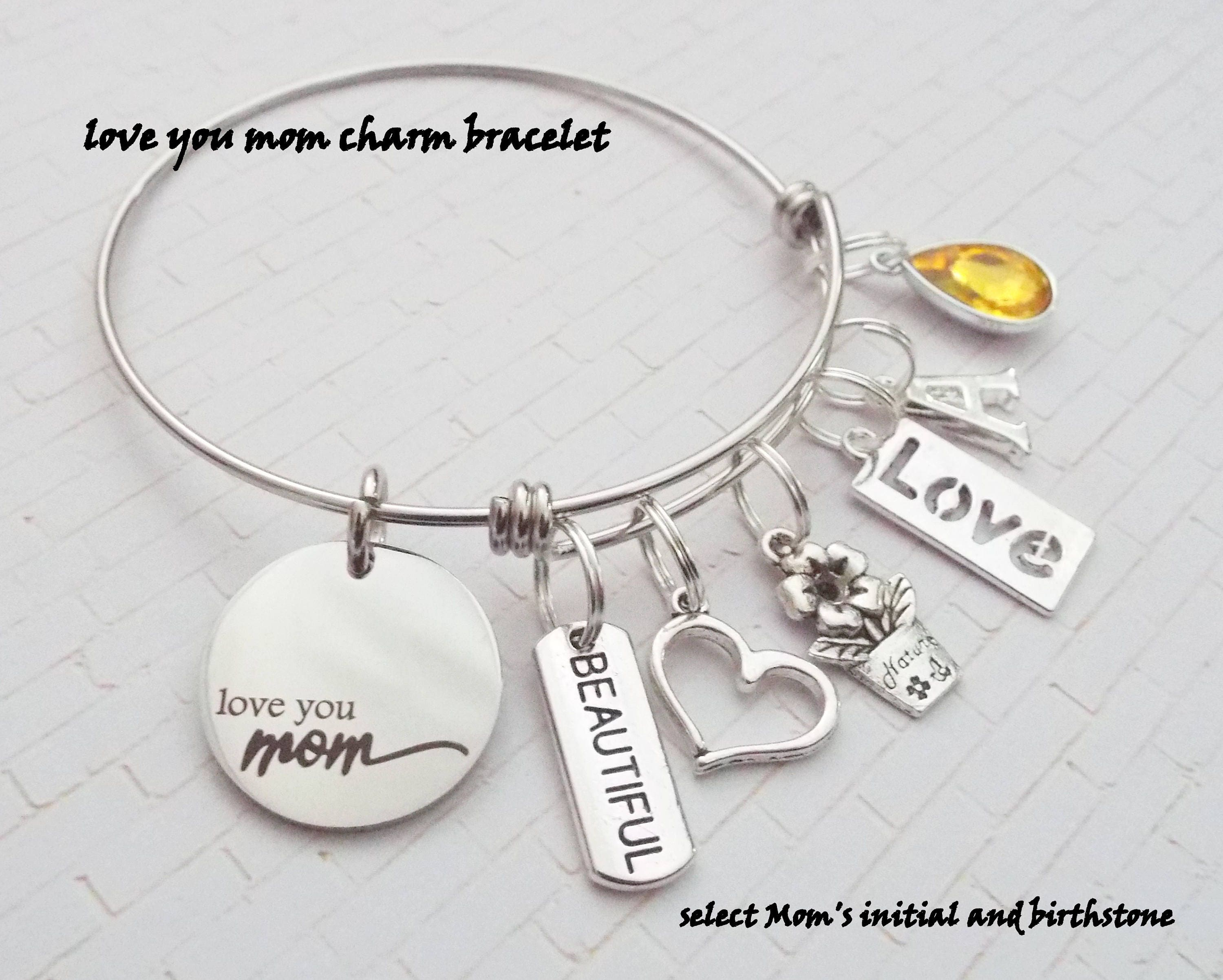 silver daughter pin bead sterling heart mothers bracelet and charm mother jewelry adjustable