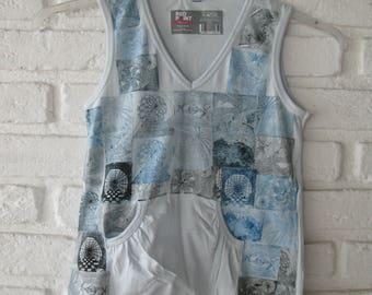 blue print blue t-shirt, size s women printmakers printing press