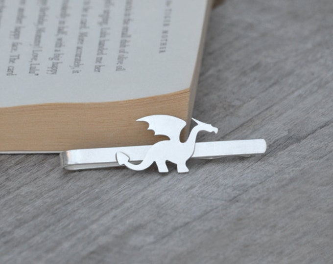 Dragon Tie Clip In Solid Sterling Silver, Wedding Tie Clip, Personalized Tie Clip, Handmade Gift For Man, Handmade In England