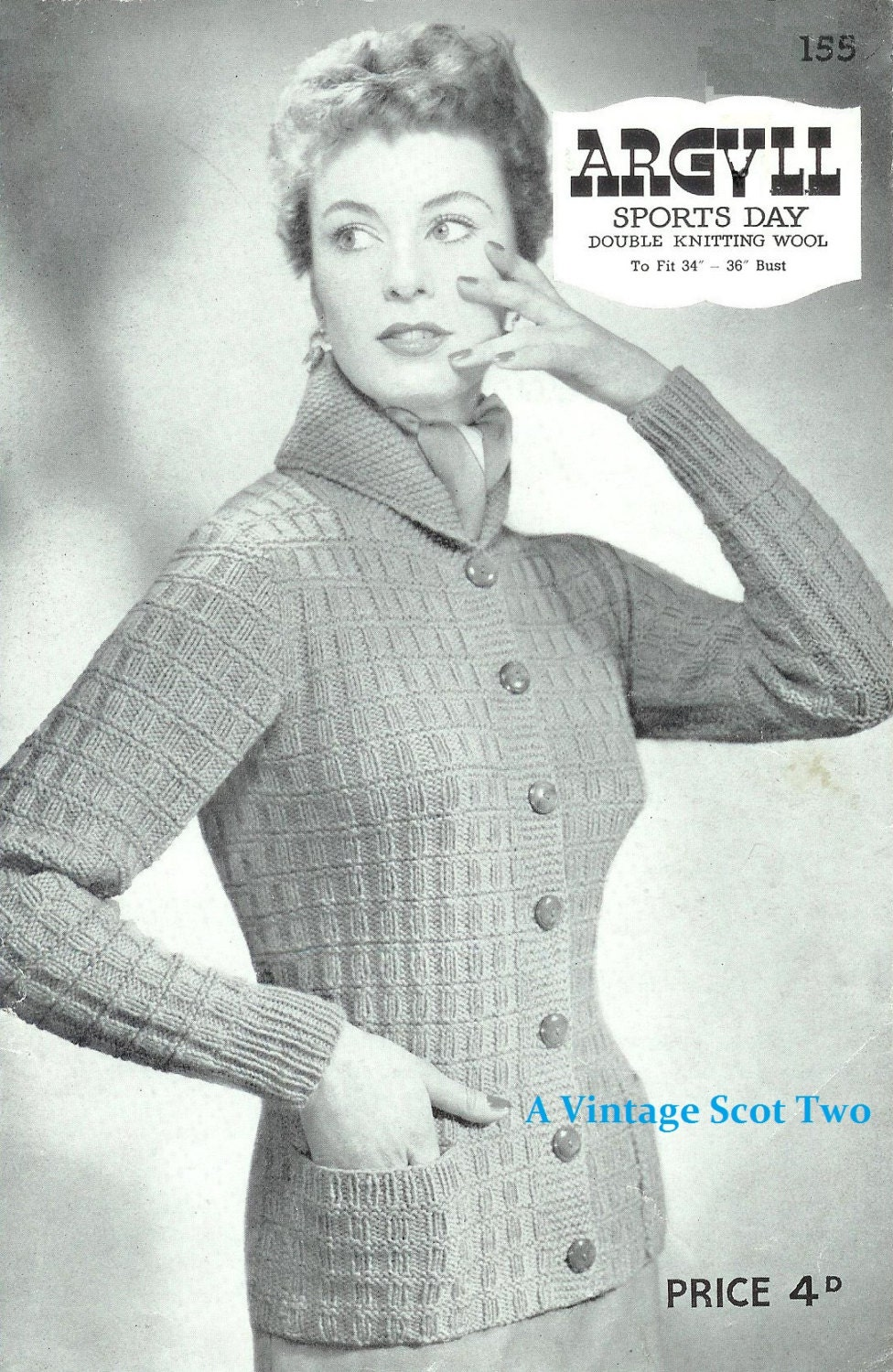 d8240888c40a DK 8ply LIGHT Worsted Jacket with a Roll Collar 34-36ins -Argyll 155 - PDF  of Vintage Ladies Knitting Patterns from 2VintageScot on Etsy Studio