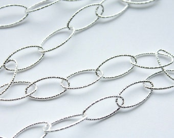 """16"""" Italian Sterling Silver 7mm x 14.5mm Textured Long Oval Chain M/RW090D"""