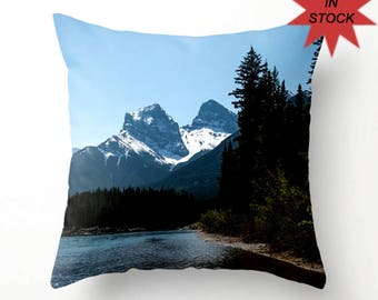 "14"" Pillow Cover, Mountain Lodge Sofa Decor, Blue Throw Cushion Case, Canadian Rocky Mountains Snow Capped Peaks, Three Sisters Mountain"