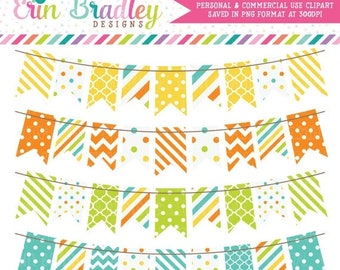 80% OFF SALE Digital Bunting Clipart Graphics Yellow Orange Green & Blue Commercial Use Clip Art Polka Dots Chevron Stripes
