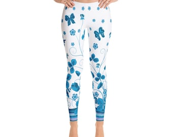 Eden Womens White Blue Floral Leggings, Yoga Pants, festival leggings, Womens Leggings, Boho Print Leggings, Bohemian  Printed Leggings