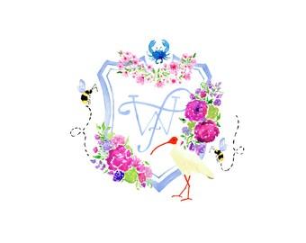 Custom Watercolor Crest, Monogram Wedding Crest; Heraldry