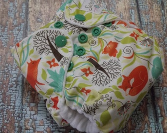 Newborn AI2 Cloth Diaper Organic Cotton Fox and Ivy Made to Order All in Two PUL