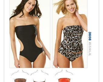 Sewing Pattern for Misses' Strapless Swimsuits, Kwik Sew Pattern 3608, Swimwear, Swim Suits, Womens Bathing Suits, Two Piece Swimsuits
