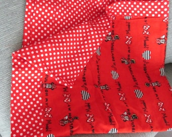 Soft flannel baby receiving blanket with Minnie Mouse and red polka dot fabric with 2 matching burp cloths