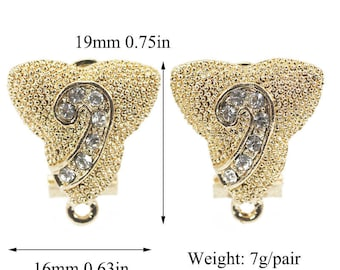 5 Pairs clip earrings, clip earrings findings,Gold plated with zircon,jewelry making ,jewelry supply,clip earrings dangle,