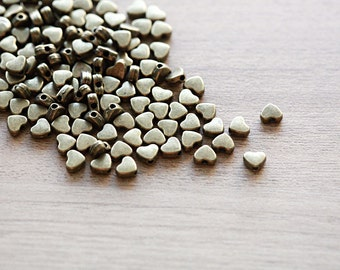 50 pcs of Antique Bronze Tibetan Style Beads - Heart - 5mm