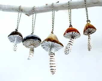 Five Decorative Mushroom Pendants in a Gift Box   Handmade   Mixed Media   Paper Mache   Clay   Giftbox